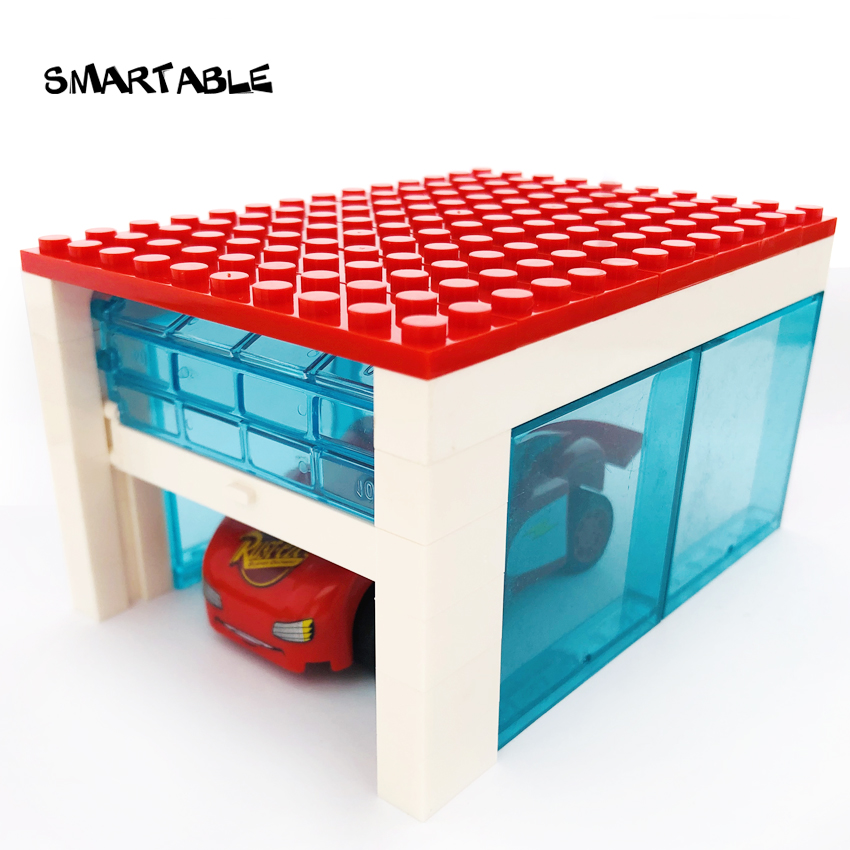 Smartable Garage With Rolling Door MOC Parts Building Blocks Toys For Kids DIY Big Luxury House Compatible All Brands City Gift