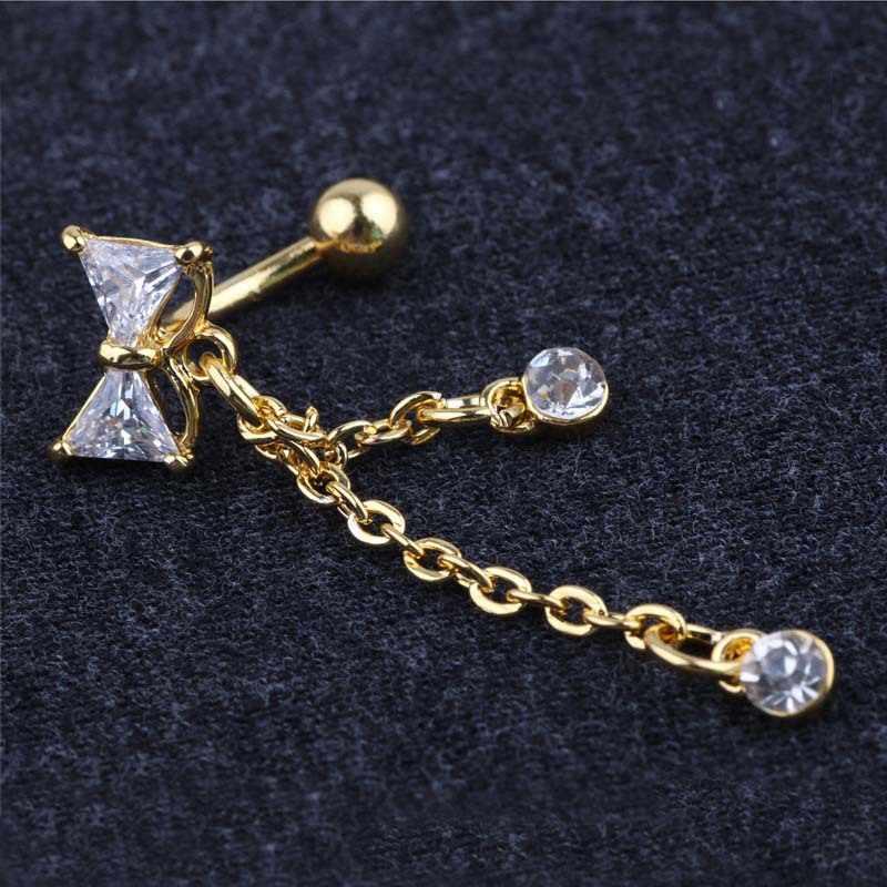הפוך חדשים טבור הטבעת להתנדנד Bowknot נקה CZ טבור בר זהב/כסף מצופה להתנדנד פירסינג תכשיטי גוף