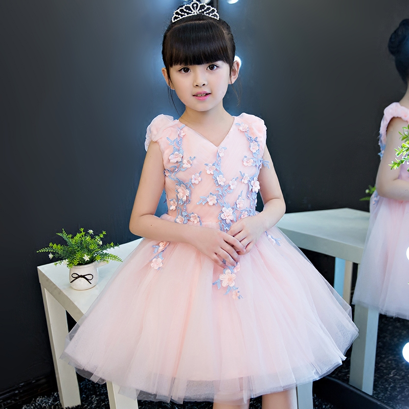 High Quallity New Baby Girls Sweet Pink Color Princess Pageant Bridesmaid Prom Party Ball Gown Dress Birthday Pageant Dresses in stock layered pre teen party gowns little girls pageant dress pink color