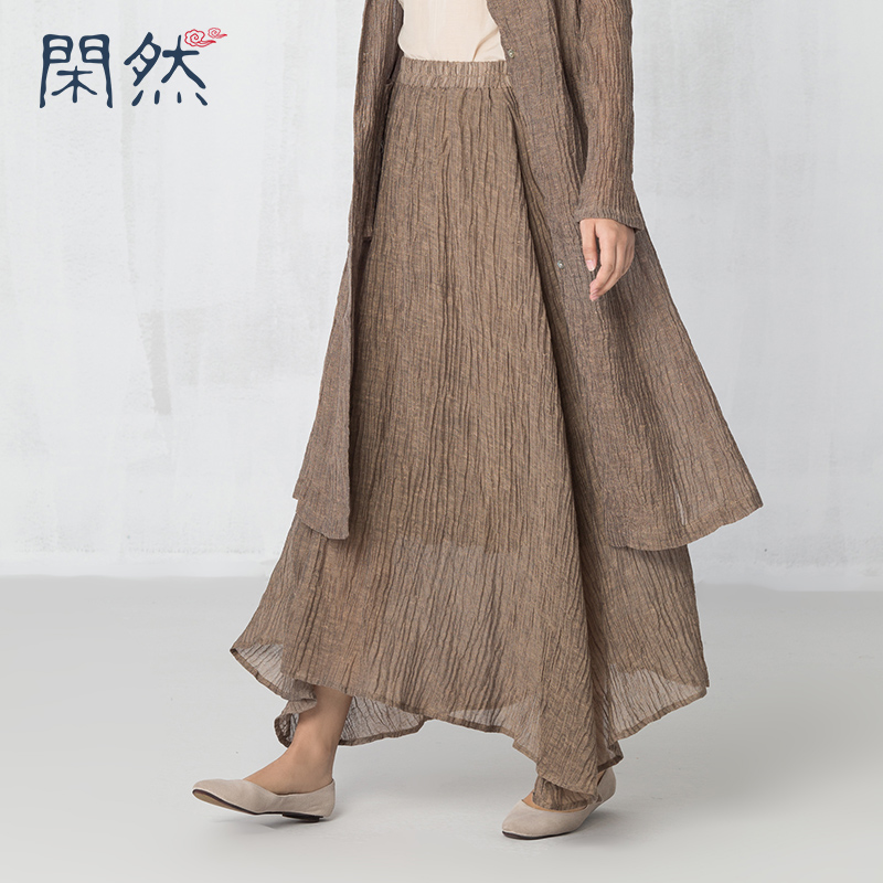 XianRan 2017 Women Skirts Linen and Cotton Casual Long Pleated Skirt Loose Plus Size Skirts High ...