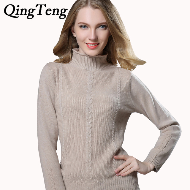 4eb81100974b1 QingTeng Cashmere Women Knit Sweater High Neck Thick Women s Jumpers  Dresses Damen Pullover Sueter Mujer Invierno 2016