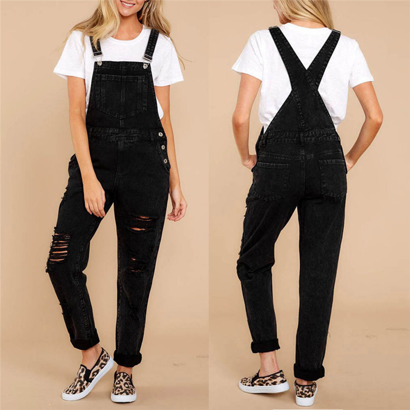 Women Sexy Denim Jeans Summer Fasihon New Autumn Bib Pants Hole Overalls Jeans Straps Demin Trousers Rompers #4F05 (1)