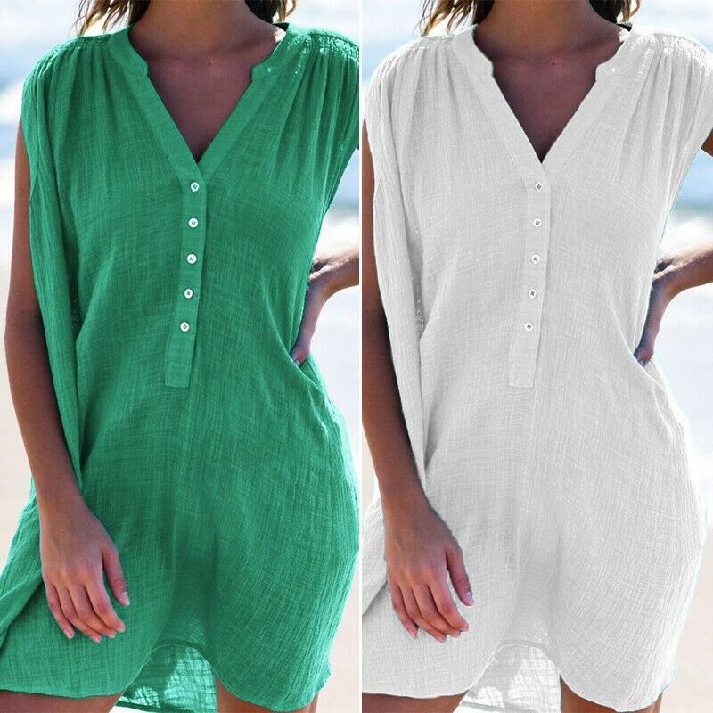 Fashion Casual Women's Beach Dress Cotton Blend Solid Color V-neck Beach Holiday Bikini Cover-Ups
