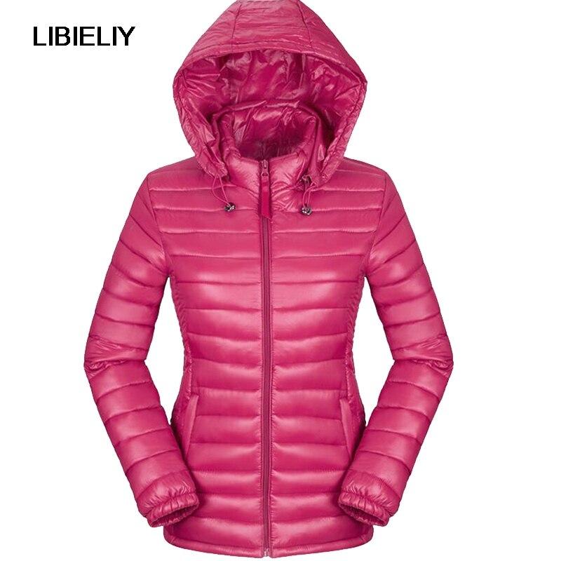 Nice Women Winter Autumn Basic Jacket  Black Red Solid Slim Thin Hooded Coat Ultra Light Cotton Plus Size 2XL Jaqueta Feminina