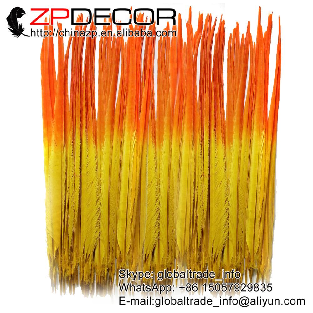 ZPDECOR 45-55CM 100pieces/lot Dyed Bicolor Beautiful Pattern Orange and Yellow Ringneck Pheasant Tail Feather