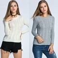 Fashion Women's O-Neck Long Sleeve Pullover Slim Solid Sweater