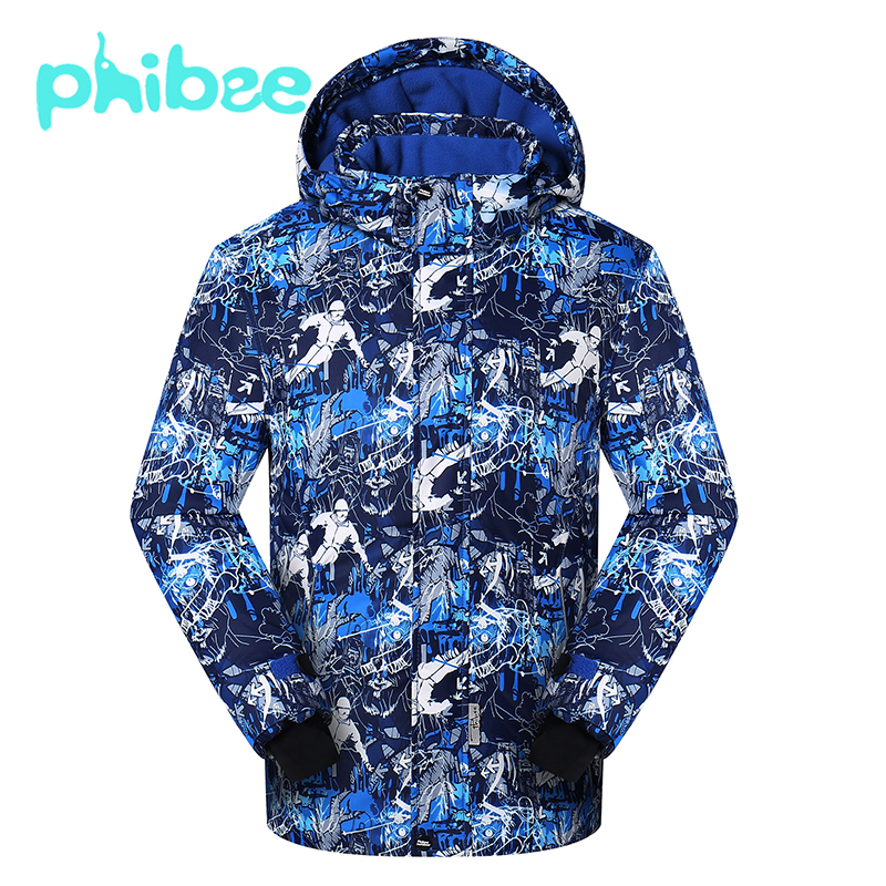 Phibee Winter Boy Ski Jacket Snowboard Jackets Outdoor Waterproof Windproof Warm Breathable Kids Coat vector warm winter ski jacket girls windproof waterproof children skiing snowboard jackets outdoor child snow coats kids