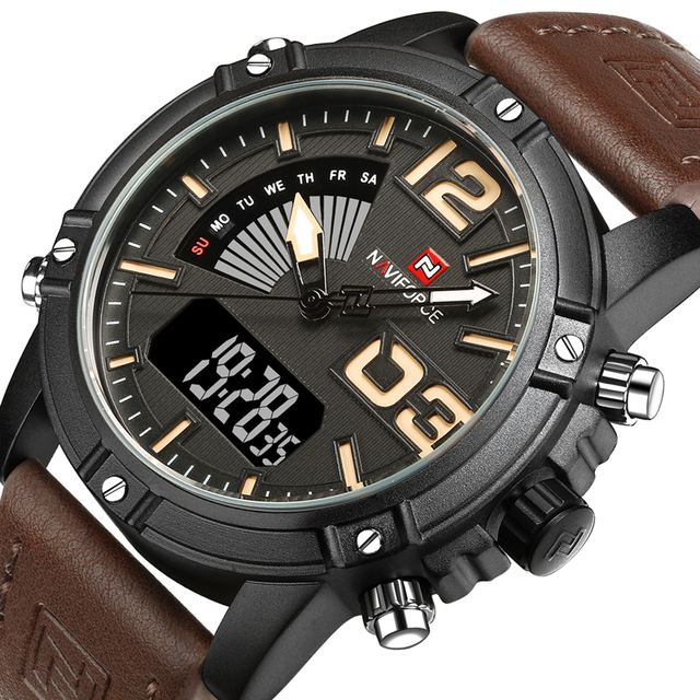 Top Luxury Brand NAVIFORCE Watches Men Leather Digital Quartz Watch Man Military Casual Sports Wrist watch reloj hombre relogio