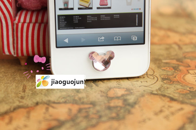 50pcs colorful shining crystal mickey design home Key Button Sticker for Apple iPhone 3gs iphone 4 4S 5 itouch freeshipping