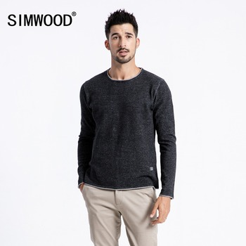 Curl Hem Knitted Contrast 100% Cotton Pullovers Sweaters for Men