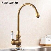 Для кухни 360 Поворотный Античная Латунь фарфор смесителя ванной смеситель горячей холодной водой античная кран CF-9219F