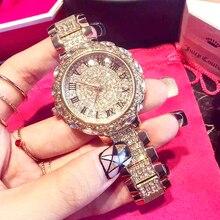 Senhoras Relógios completa diamante pedra À Prova D' Água Grande dial Algarismos Romanos pulseira de relógio com diamante aço de pulso de Quartzo