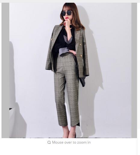 Ensemble Mince Et Élégant Gris Costumes Bureau Formelle Plaid Dames Vêtements Longues Manches À De Pantalon Travail J17ct2004 Blazer Femmes 2017 x6nwTHA1F