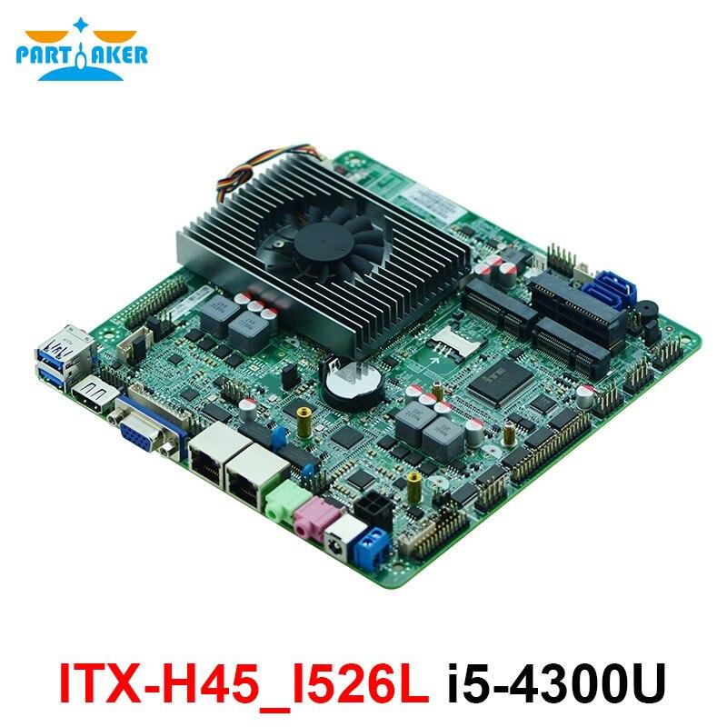 ITX-H45 Intel i5 4300U double coeur 2 LAN DC 12 V LVDS Mini ITX carte mère pour kiosque POS