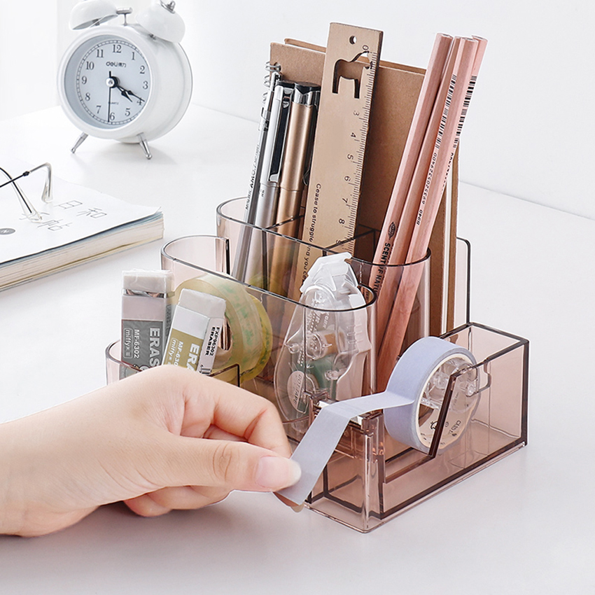 Transparent Stationery Storage Box Creative Desk Organizer Plastic Compartment Pen Holder Office Accessories