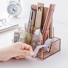 Transparent Stationery Storage Box Creative Desk Organizer Plastic Compartment Pen Holder Office Accessories