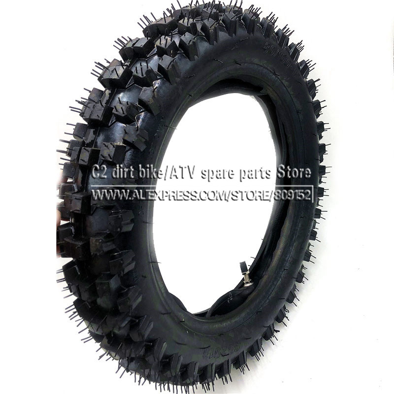 Off Road Tire 80/100-12 with Inner Tube 3.00-12 for Dirt Pit Bike Motocross Off Road Motorcycle 12 inch Rear Wheel image