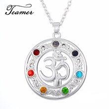 Teamer Yoga sembolü kolye kristal OM 7 çakra Reiki şifa dengeleme yaşam taşlar kolye hint tarzı takı