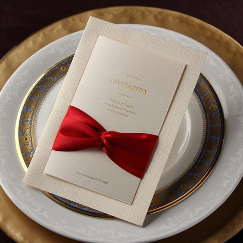 Luxury Ivory Classic Red Ribbon BirthdayBusiness Wedding - Birthday invitation cards luxury