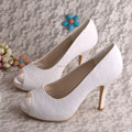 Wedopus MW529 Womens White Lace Peep Toe High Heels Bridal Wedding Shoes for Bride
