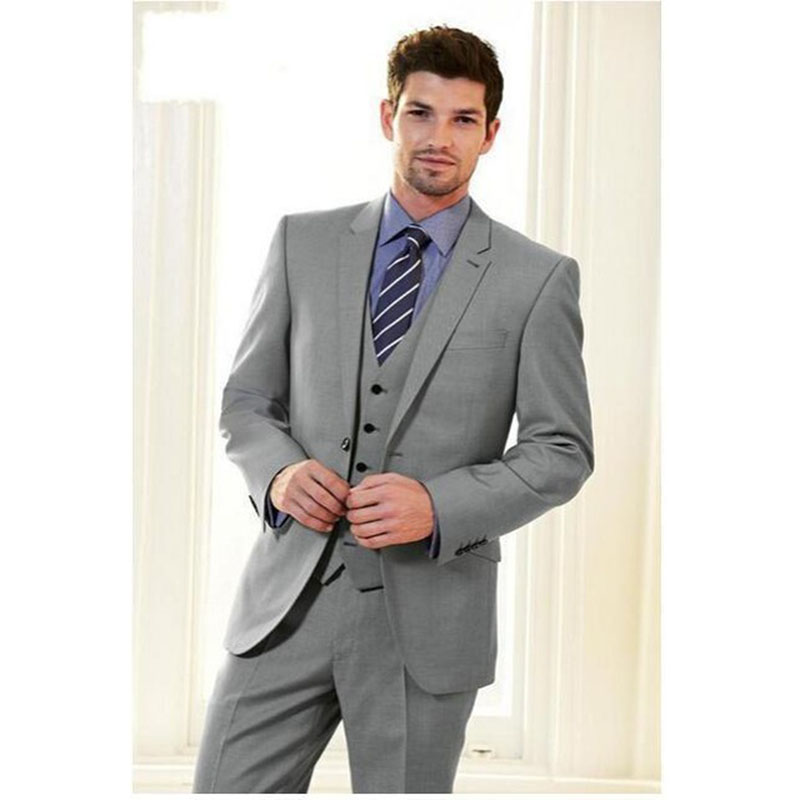 2017 New Grey Groom men suit Tuxedo terno masculino Notch Lapel Groomsmen 3 pieces gray Mens Wedding Suits ( jacket+Pants+vest)