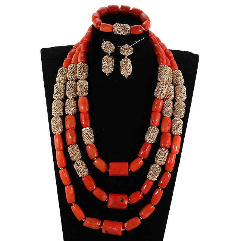 Amazing White Long Coral Beads Necklace Set White Coral Costume African Beads Jewelry Set Gold Fashion Coral Beads CNR057