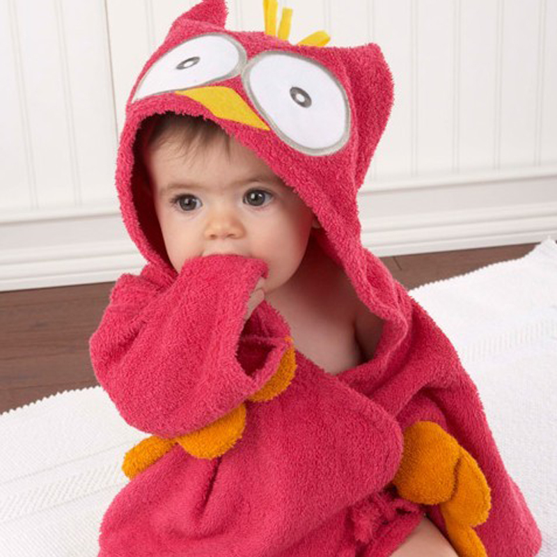 Colorful Baby Kid Child Bath Towel Bathrobes Hooded Cute Owl Shark ...