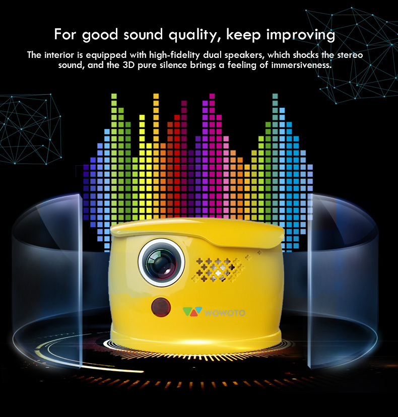 WOWOTO Mini yellow Projector Manual focus 854*480 Resolution Wi Fi Bluetooth LED Portable HD projector for Home entertainment Q1