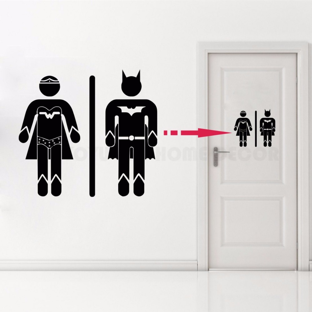 Removable Home Decor Toilet Bathroom Door Decal Superman and super girl WC Sign Vinyl Sticker Toilet AY1180