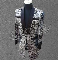 S 6XL!!! 2018 Fashion A male singer silver leopard gradients cultivate one's morality a long suit costumes The singer's cloth