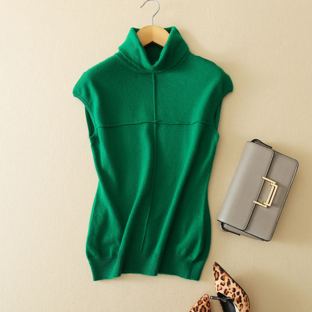 e15100e768862e Spring and Autumn New Stylish Women High Collar Pullover Fashion Solid  Color Cashmere Vest Loose Casual Sleeveless Knitted Shirt