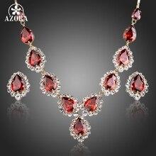 AZORA Plateado Oro Rojo CZ Waterdrop Colgante Collar y Pendientes Juegos de Joyería TG0149