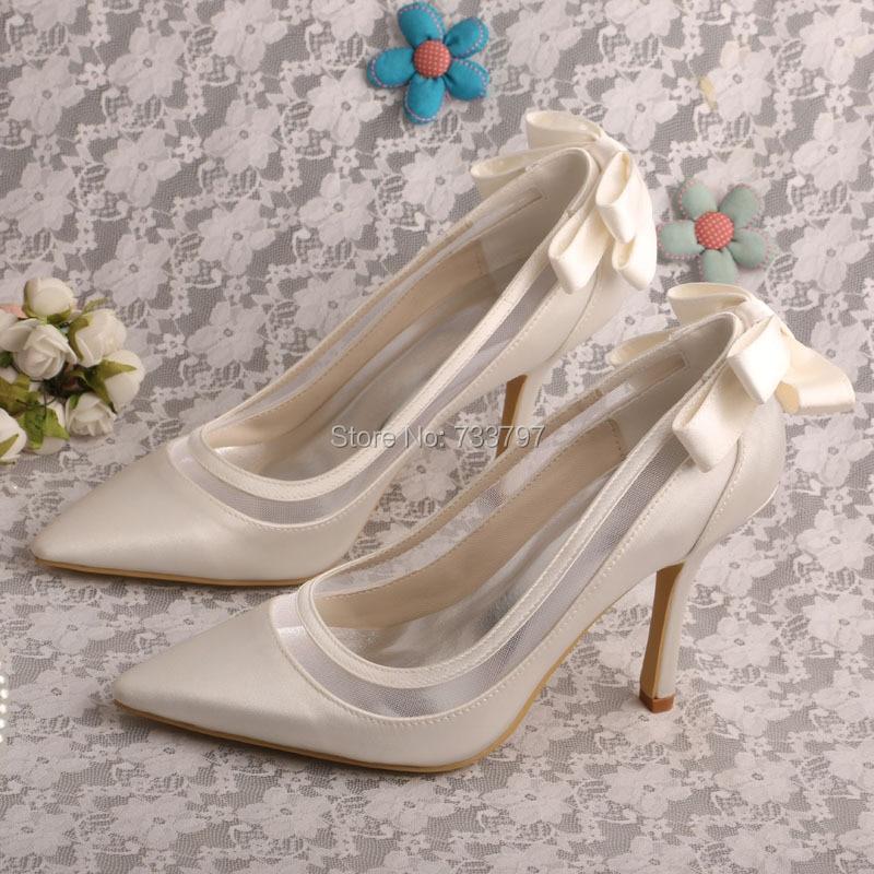 ФОТО Wedopus Custom Handmade Pointed Toe High Heels Ivory Satin Bridal Wedding Shoes Dropshipping