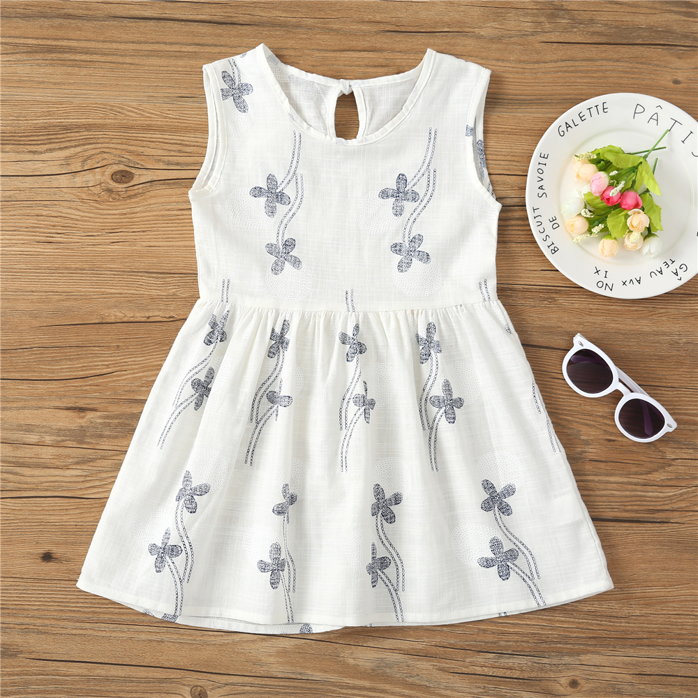 Kids Dresses for Girls Summer Girl Sleeveless Dress Toddler Flower Print Princess Dress 1 2 3 4 5 6 7 Years Children's Clothing