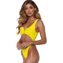 one piece swimsuit women Sexy vest chest zip metal ring link bikini 2019 swimming suit