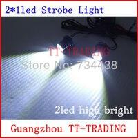 2 LED auto stroboscoop motorfiets waarschuwingslampje auto flash lamp high power mistlamp lamp DC 12 V WIT ROOD BLAUW