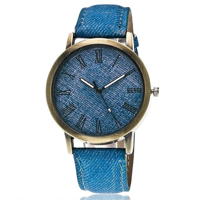 MINHIN Casual Denim Bracelet Watches Retro Bronze Dial Quartz Watch Unisex Sport