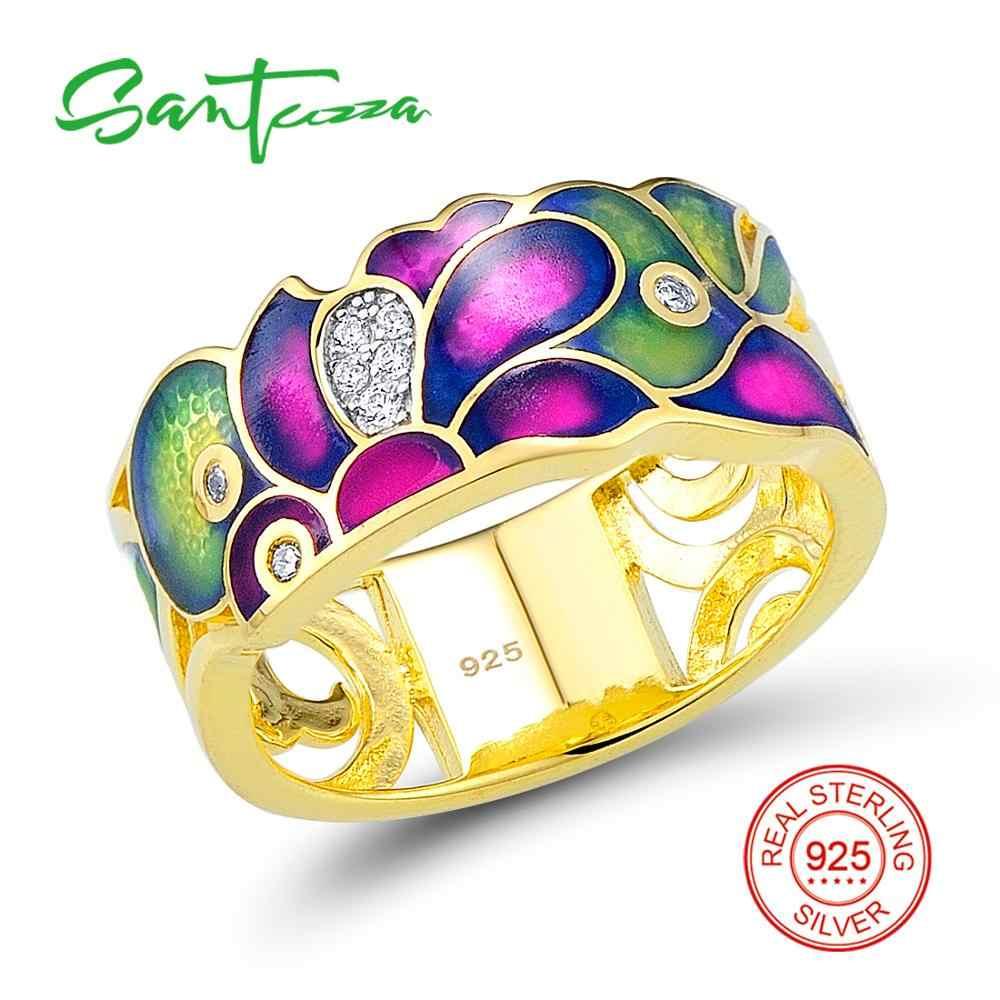 SANTUZZA Schmuck Set HANDGEMACHTE Bunte Emaille Weiß CZ Steine Ring Ohrringe 925 Sterling Silber Frauen Mode Schmuck Set