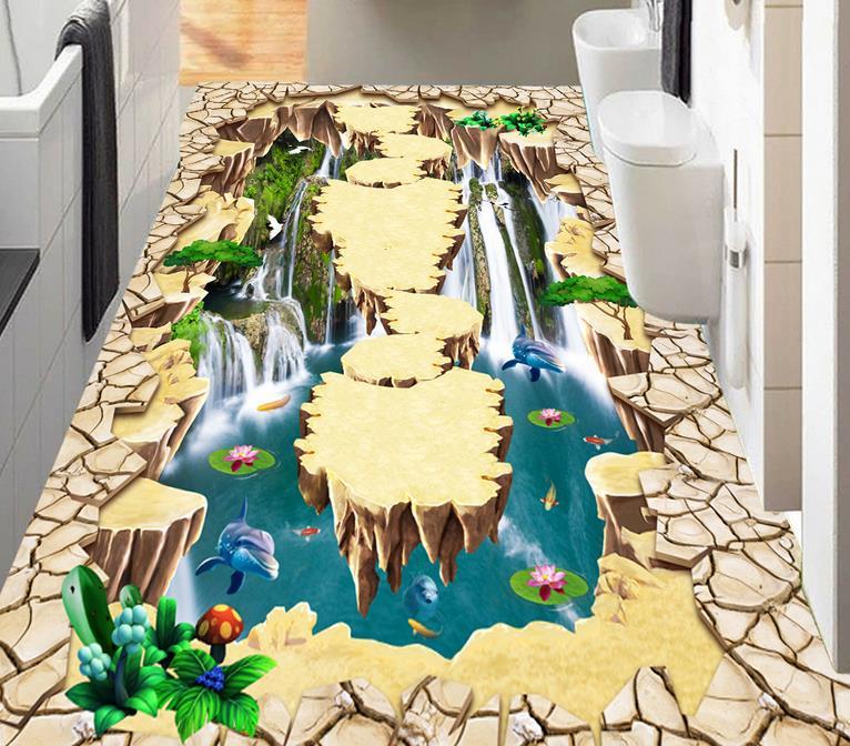 bathroom 3d flooring mural wallpaper Waterfall floating island 3d floor painting waterproof pvc self adhesive wallpaper free shipping european style parquet flooring marble floor relief 3d office decoration wallpaper bathroom mural