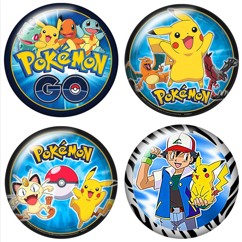 DB0452 Lovely Pokemon Pikachu  18mm Snap Buttons 10pcs Mixed Round Photo Glass Cabochon Style For Snap Button Jewelry