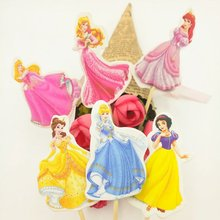 24pcs Princess Cake Dessert Inserted Card Prod With Picture Decoration Cupcake Picks Kid Birthday Party