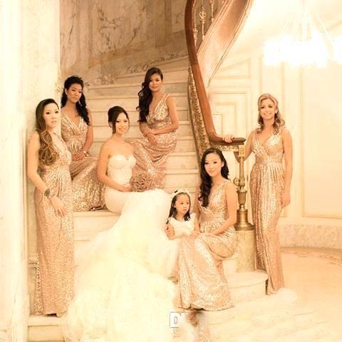 Vestidos Para Festa Rose Gold Sequins   Bridesmaid     Dresses   Vestido De Madrinha Bling Sparkly Golden   Bridesmaid     Dresses