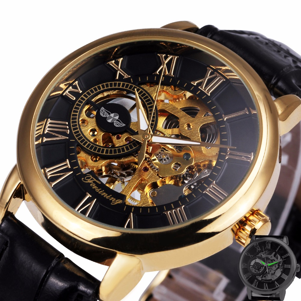 2017 WINNER Dress Fashion Men Mechanical Watch Skeleton Dial Roman Number Concise Design Wristwatch Best Business