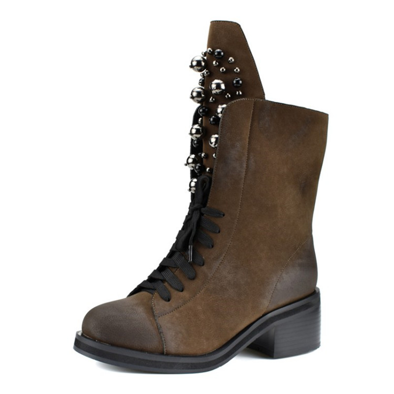Fashion Suede Leather Boots For Women Faux Suede Low Heels Mid Calf Boots Winter Women Boots Round Toe Metal Decoration Shoes in Mid Calf Boots from Shoes