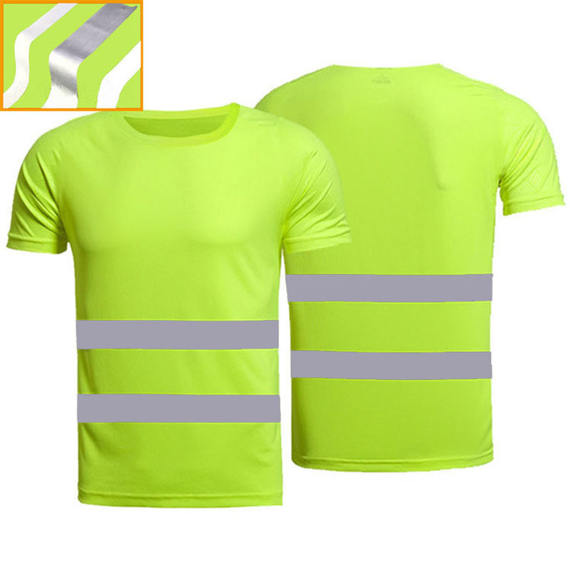 Outdoor Sports  Fluorescent High Visibility Safety Work Shirt Summer Breathable Work T Shirt Reflective Vest T-shirt Quick Dry