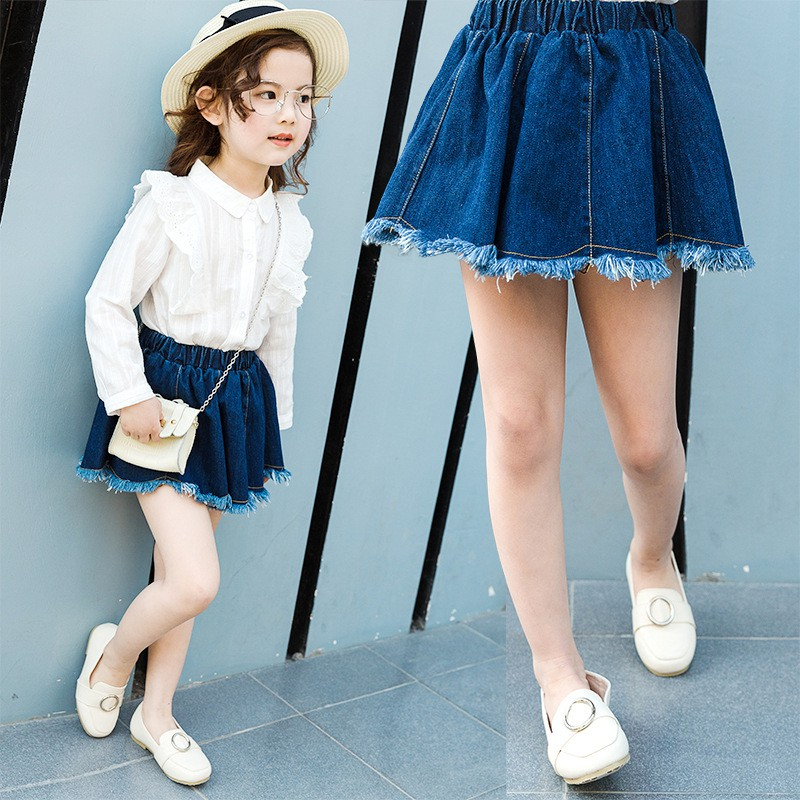 Kids Girls Jeans Skirt Denim Cotton Girls Fashion Casual Skirt Children Summer Mini Skirt
