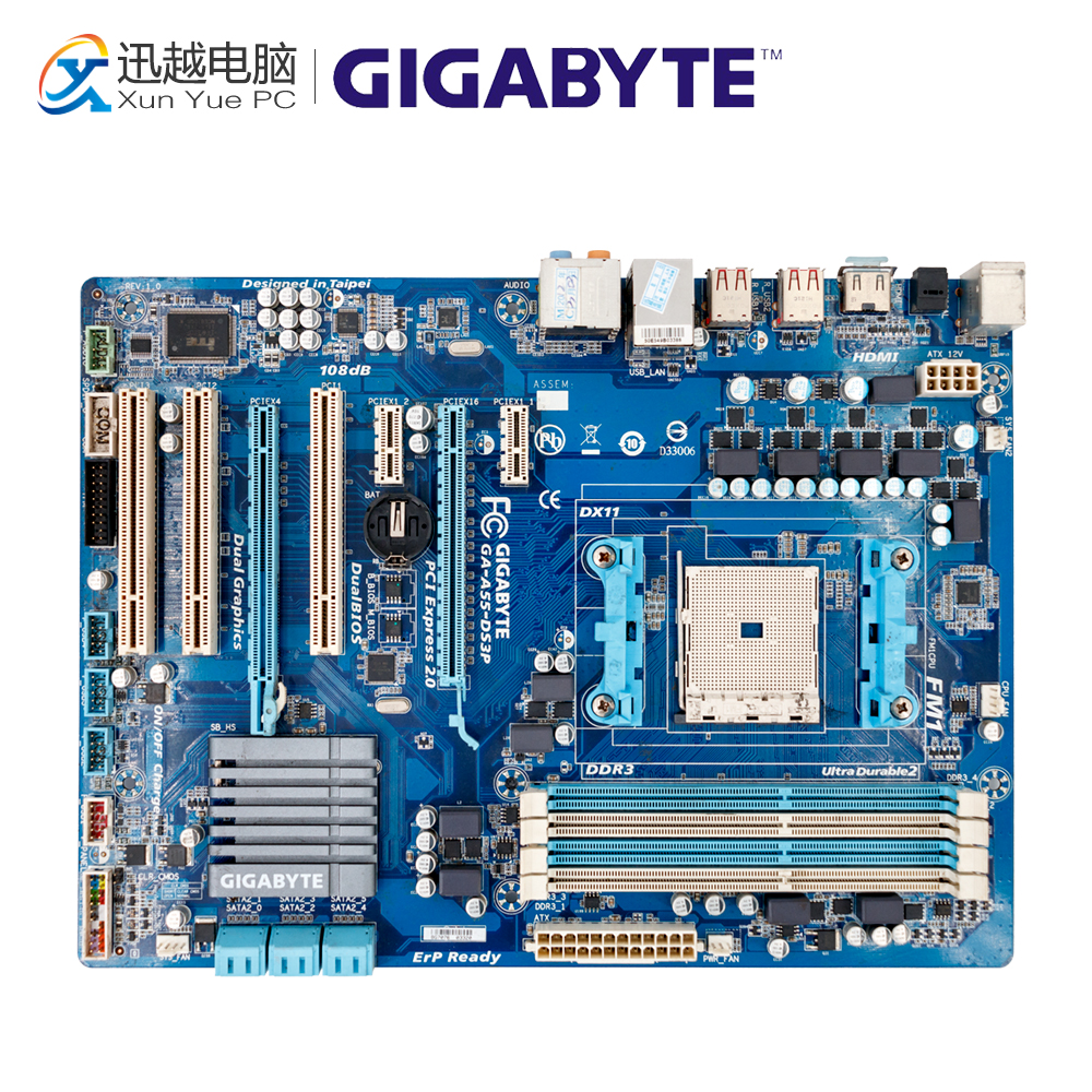 Gigabyte GA-A55-DS3P Desktop Motherboard A55-DS3P A75 Socket FM1 DDR3 SATA2 USB2.0 ATX free shipping original motherboard for asus f1a55 v plus socket fm1 ddr3 boards a55 desktop motherboard