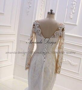 Image 5 - Amanda Disegno robe mariee O Collo A Maniche Lunghe In Pizzo Appliqued Perle Abito Da Sposa Su Misura