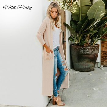 WildPinky New 2020 Women Spring Autumn Sweater Long Cardigan Long-Sleeve Loose Thick Knitted Cardigan Female Sweaters Long Coat fengguilai 2020 european spring autumn abstract pattern loose bat sleeve women long cardigan sweater thick sweater coat female