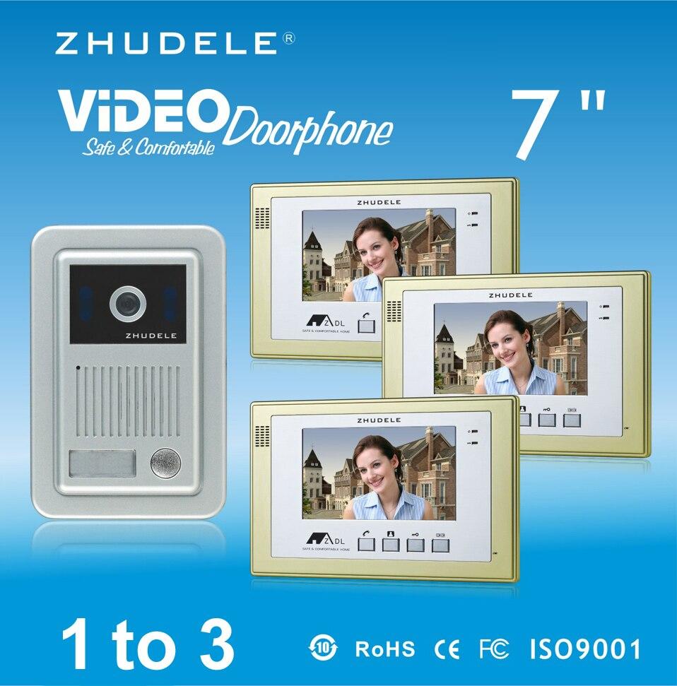 ZHUDELE Brand Home Security Intercom System Doorbell Kits 3X7 Video Door Phone Monitor+1XIR CCD Outdoor Camera
